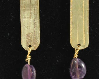 Etched brass earrings with purple beads. (061617-011)