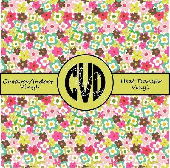 Flower Patterned Vinyl // Patterned / Printed Vinyl // Outdoor and Heat Transfer Vinyl // Pattern 731