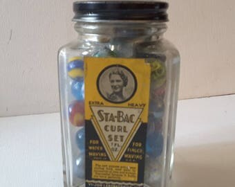 Stay back!!!...vintage hair care product bottle, with marbles
