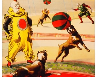 Vintage Barnum and Bailey Football Dogs Advertising Poster Print
