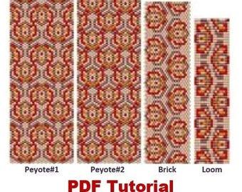 Loom –Brick – Peyote (Odd Count) Pattern Bracelet «Embroidery » Beading Tutorial Instant Download