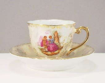 """Vintage white and gold Versailles Lusterware """"Courting Couple"""" Footed Demitasse, Love Story"""
