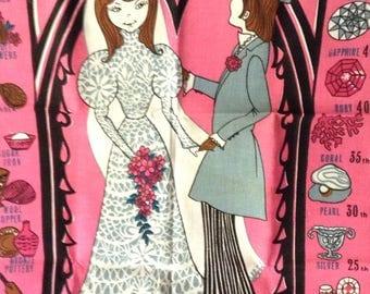 Retro Bride and Groom Wedding Towel
