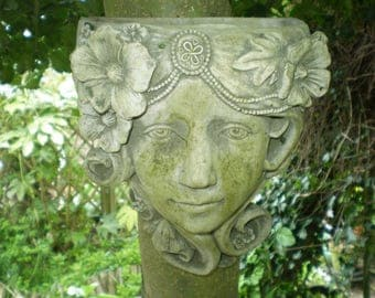 Architectural Salvage Antique Lady Garden Wall,Courtyard Ivy Planter,Reclamation,Beautifully Weathered