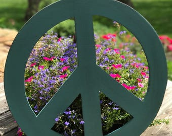 Large Distressed Wooden Turquoise Peace Sign
