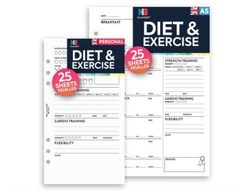 PRINTED Diet & exercise tracker Insert A5 / Personal Filofax A5 Kikki.K Large Compatible Refill Coloured