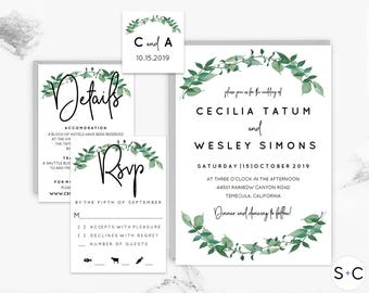 Woodland Wedding Invitation Template | Greenery Wedding Invitation  | Rustic Wedding Invitation | Forest, Garden, Nature, Green, | Printable