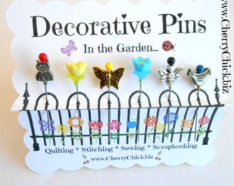 Decorative Sewing Pins - Pretty Pins - Quilting Pins - Flower Pins - Scrapbooking Pins - Gift for Sewers - Bulletin Board Pin - Push Pin