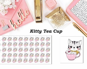 Kitty Tea Cup//Planner Character Stickers//EC//HP