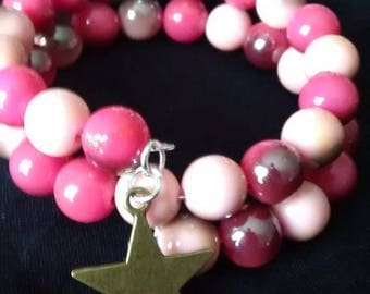 Star bracelet with charm and Pink/Purple beads on memory wire