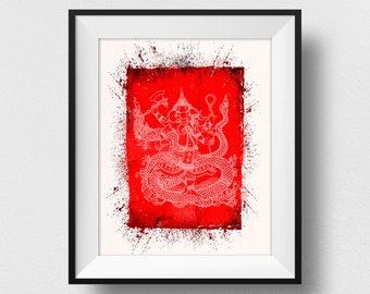Ganesha Wall Art, Ganesha Painting, Lord Ganesha, Ganesha Art, Indian God, Ganesh Print, Indian Gift, Ganesha Gift (N526)