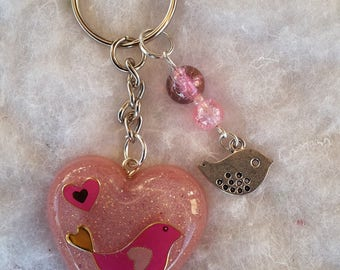 Pink heart key ring bird, beads and resin
