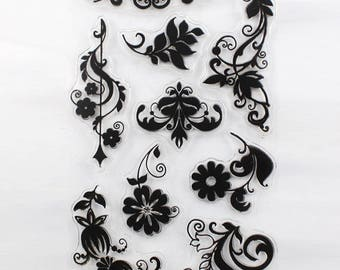 Damask Floral Borders Clear Stamp Set of 9