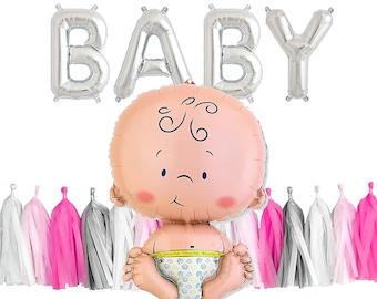 "BABY GIRL Set   24"" Baby Balloon   Silver Letter Balloons   Pink Theme Tassel Garland   Baby Balloon"