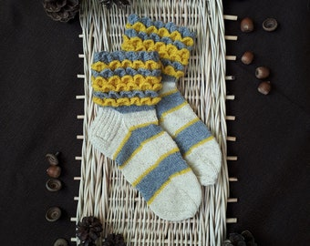 Wool socks, Hand knitted and crocheted socks, Knit socks, Winter socks. Patterned socks, Crocheted socks.