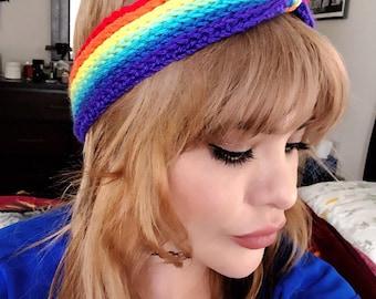 Crochet rainbow headband,lgbtq, rainbow
