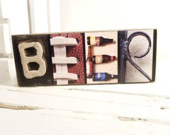 Beer Letter Photography Sign / Beer Sign / Gift For Beer Lover / Husband Beer / Beer Themed Gifts / Drinking Wood Sign / Beer Drinker Sign