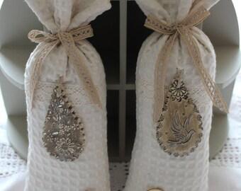 Antique ceramic lace Lavender bag beige drop