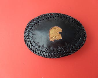 Mens Leather Belt Buckle / Hand Made /  Hand Carved / Hand  Tooled / Canadian Made / All Occasions  / Also  Customizing / # 7059 J .