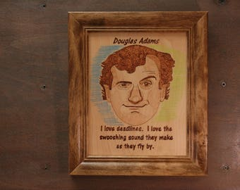Douglas Adams - woodburned  portrait and quote