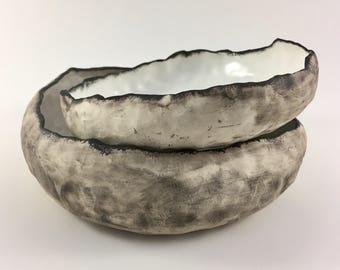 Set of 2 Large salad bowls, ceramic bowl, handmade minimalist decor, kitchen favourite , serving dish