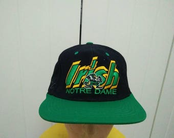 Rare Vintage NOTRE DAME Fighting Irish Big Logo Embroidered Spell Out Cap Hat Free size fit all