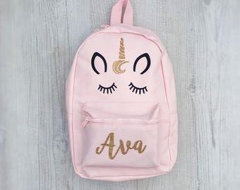Personalised Kids Pink Unicorn Mini Backpack - Custom Girls Children's School Bag - Glitter Name