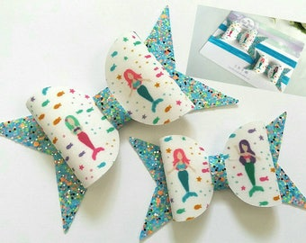 Mermaid hair bows, big sister,little sister, baby headband,spring, blue,white, glitter,uk seller