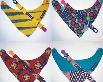 African Print Bandana Bib and Pacifier Clip Set // Baby Gift Set // Pacifier Clip and Bib
