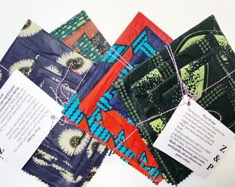 Beeswax Food Wraps (Set of 4) // African Wax Print Wax Wraps // Natural Plastic-Free Food Storage