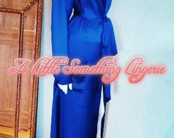 Blue Silk robe Long silk robe silk dressing gown long silk dressing gown silk dressing gown women's blue silk robe UK something Blue robes