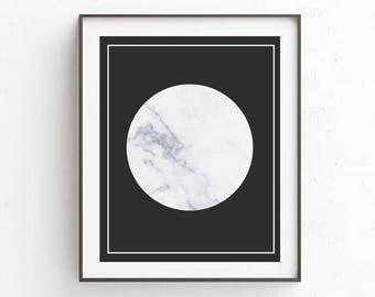 Marble Moon Art Print,Marble print, Marble Poster, Moon Poster, Moon Print,Minimalist Art, Marble wall art, New apartment Decor, City Life