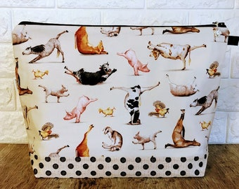Knitting Project Bag, Yoga Animals Knitting Bag, Yarn Tote, Crochet Project Bag, Holiday Tote Bag, Yarn Bowl, Knitting Pouch