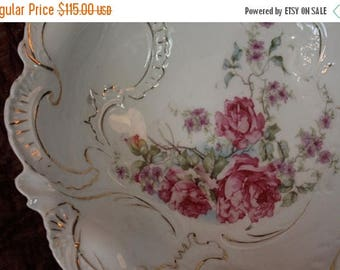 Christmas in July Sale Antique Large Old Paris Porcelain Serving Bowl - Hand Painted Roses and Gold Scallops