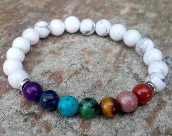 Seven Chakras Bracelet, Howlite Chakra Bracelet, Chakra Mala, Balance Bracelet, Reiki Bracelet, Rainbow Bracelet, Meditation, Gift for Mom