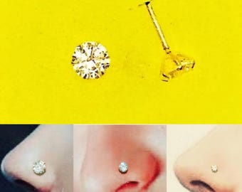 Stunning Nose Stud/Pin in Pure Gold