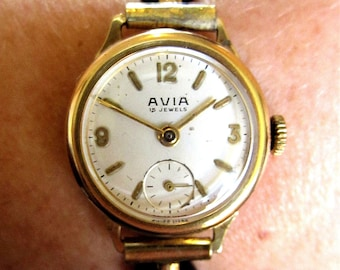 Ladies Swiss 1940's GP Avia 15 Jewels Mechanical Watch + Sub Dial Derby 40 for Sale