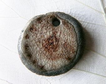 Locket raku, ceramic Brown and purple enamel, glass ice, unique effect