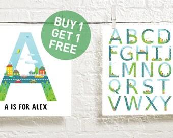 custom kids poster - personalized kids art - custom monogram print - custom decor for boys room - custom childrens print - INSTANT DOWNLOAD
