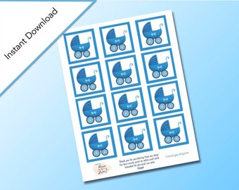 Blue Baby Shower Square Gift Tags, Baby Shower Party Favors, Baby Carriage Design, Digital Download, Baby Shower Printable