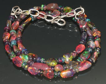 "21 Carats 4.5x5 to 5x9 16"" Ethiopian Fire Opal Black Tumble With Roundel Beads Necklace 8012"
