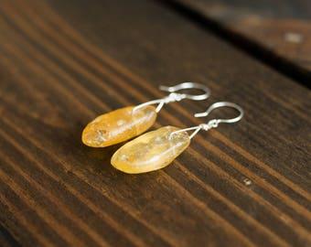 Raw Amber Earrings