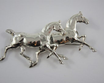 Sterling Silver Running Horses Brooch