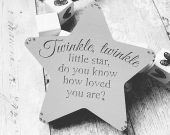 Freestanding Star, Shabby Chic Childrens Nursery Star, Nursery Art, Twinkle Twinkle Little Star, Nursery Gifts, Nursery Star, Nursery Decor