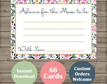Boho Baby Shower Games - New Mummy Advice Cards - Tribal Floral Design - Party Game Instant Download - Mum to be It's A Girl Gender Neutral