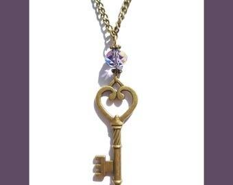 Antique Bronze Key & Purple Swarovski Crystal Necklace