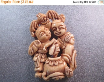 ON SALE 15% OFF Camel Bones Carved Children Figure Bead 1pc