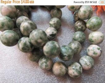 ON SALE 15% OFF Green Spot Jade 8mm Round Beads 48pcs