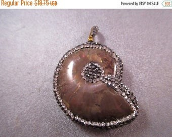 ON SALE 15% OFF Madagascar Fossil Ammonite Pave Rhinestone Pendant 1pc