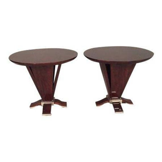 "Pair of Italian Art Deco Style Round BurlWood End Tables 30"" Diameter"